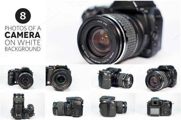 8 Photos Of A Camera On White
