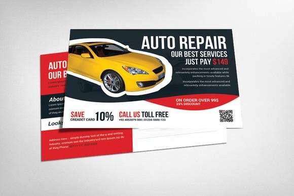 Auto Service Postcard Template