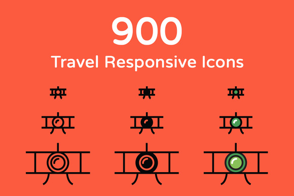900 Travel Responsive Icons
