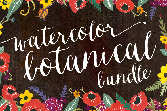 Watercolor Botanical Graphic Bundle