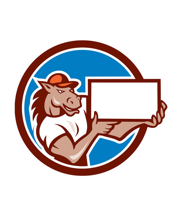 Horse Presenting Blank Sheet Board C