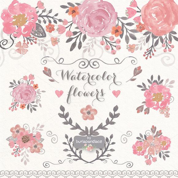 VECTOR Watercolor Flower Cliparts