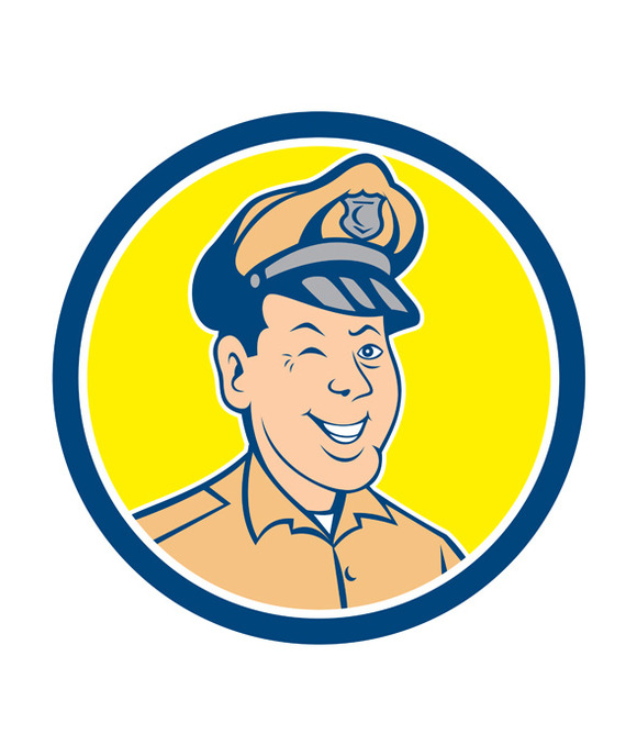Policeman Winking Smiling Circle Car
