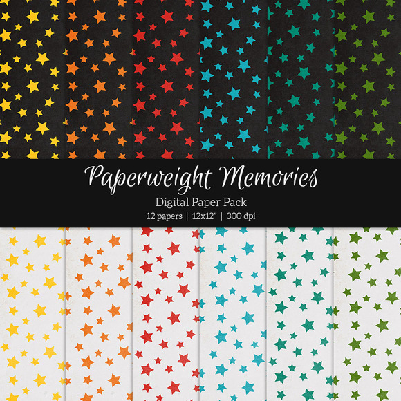 Patterned Paper Falling Stars