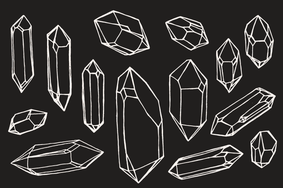 Crystal Mineral Gem Drawings