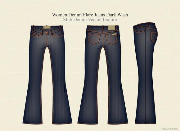 Women Denim Flare Jeans Dark Wash