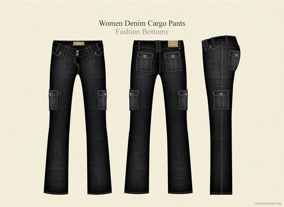 Women Denim Cargo Fashion Pants