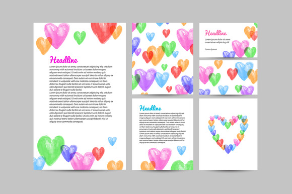 Watercolor Hearts Template Identity