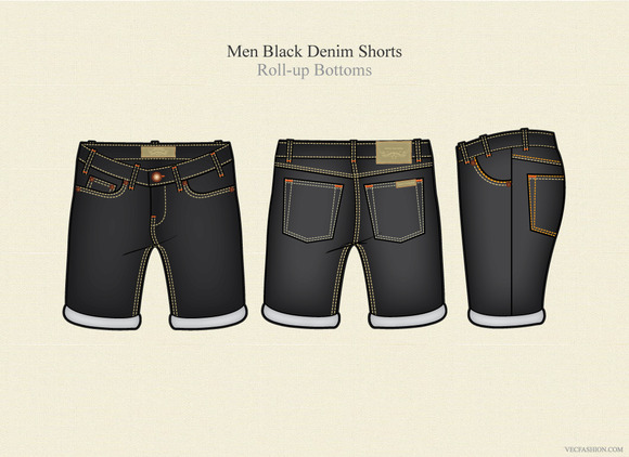 Men Black Denim Shorts