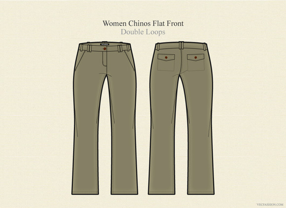 Women Chinos Flat Front