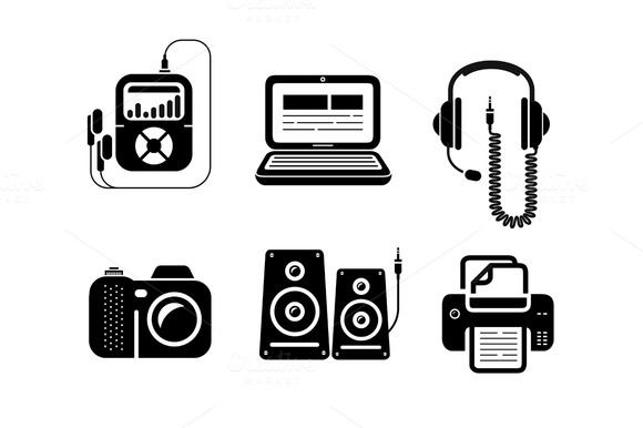 Icons In Black For Multimedia