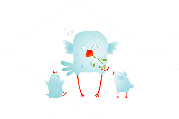 Cartoon Cute Mother Bird And Baby