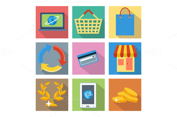 Square Icons For Internet Shopping