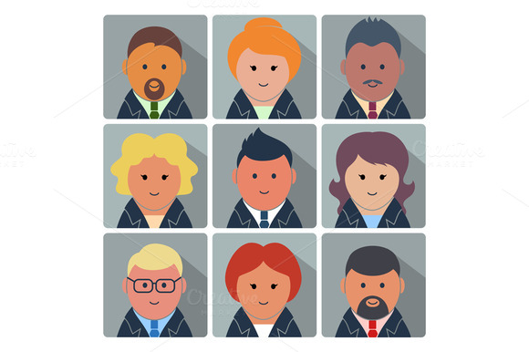 Set Of Avatar Icons With Business