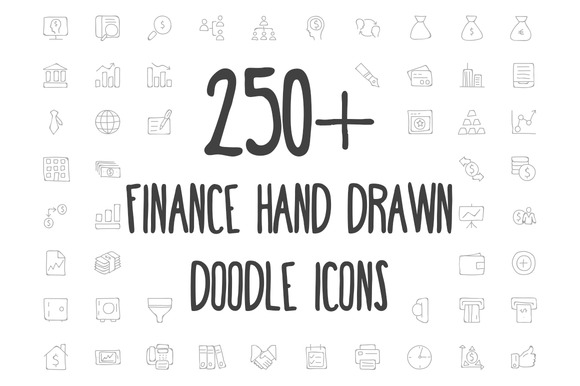 250 Finance Hand Drawn Doodle Icons