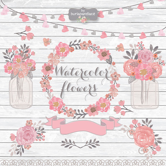 Vector Watercolor Flowers Wreath