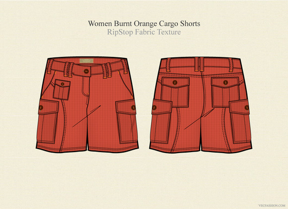 Women Burnt Orange Cargo Shorts