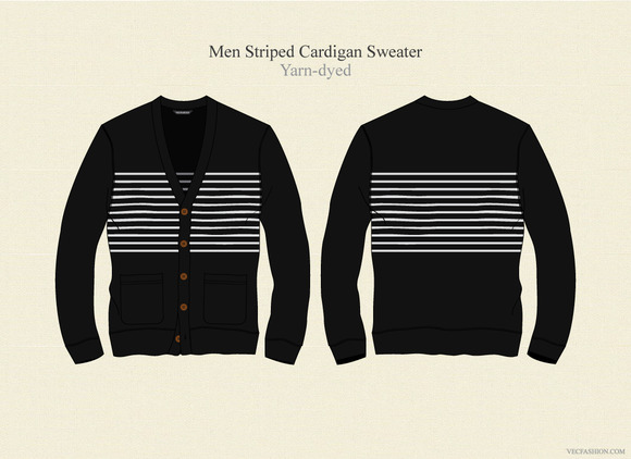 Men Striped Cardigan Sweater