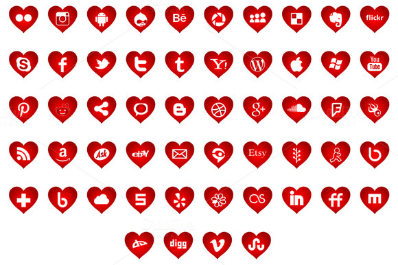 Social Media Icons Heart Shapes