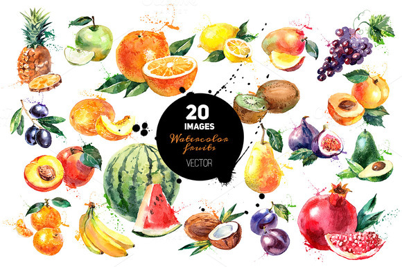 20 Watercolor Fruits Vector