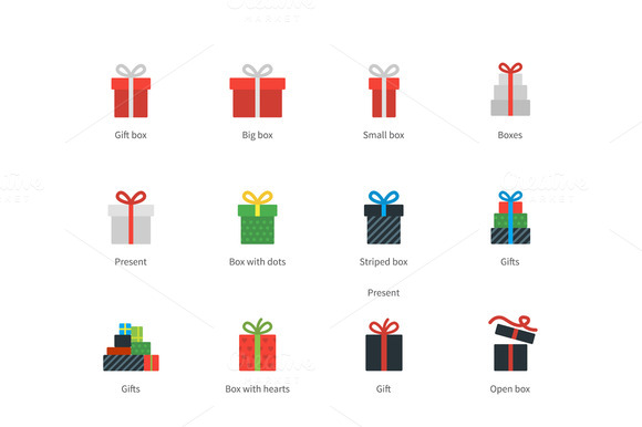 Gift Box Icons On White