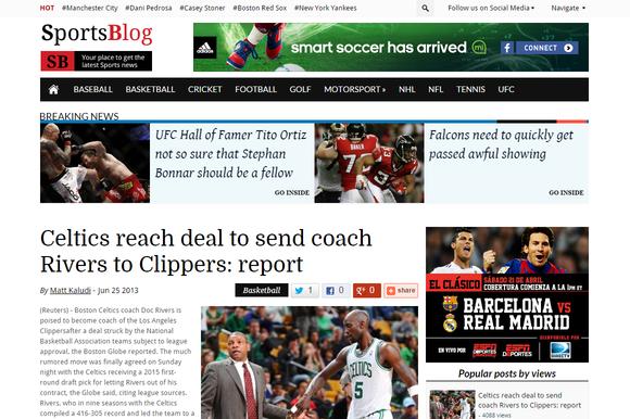 SportsBlog Sports Blogging WP Theme