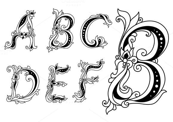 Floral Font Letters A B C D E F