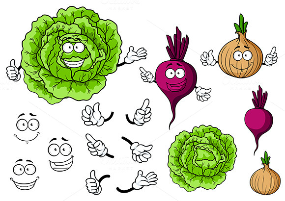 Cute Cartoon Cabbage Beet And Onion