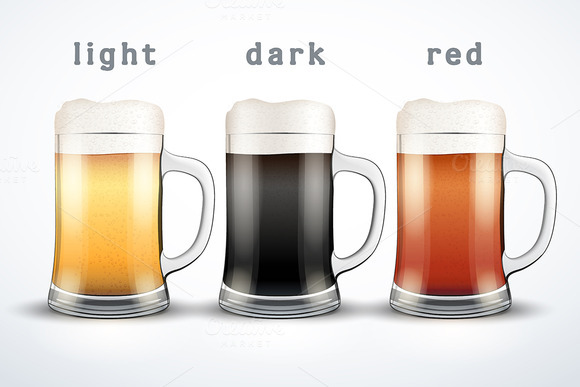 Vector Beer Mugs With Three Brands