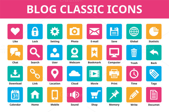Blog Classic Vector Icons