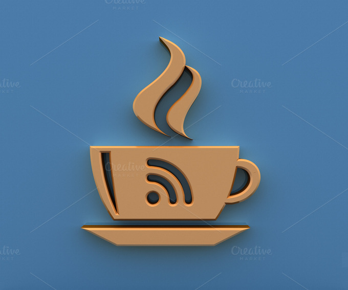 Free Wi-Fi Zone Icon 3D Coffee Cup