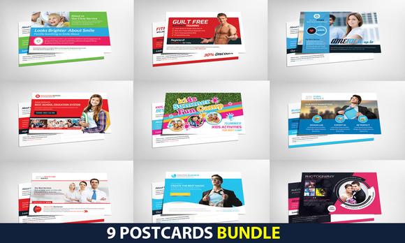 9 Corporate Business Postcard Bundle