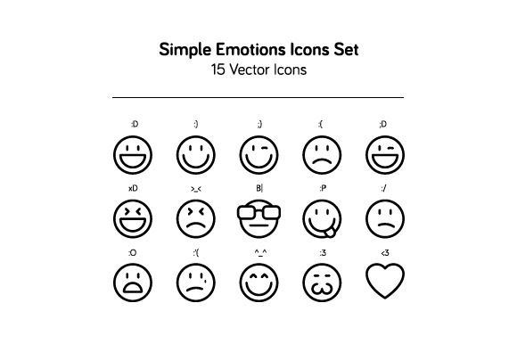 Simple Emotions Icons Set