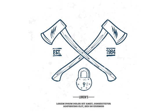 Crossed Axes With Padlock Vector