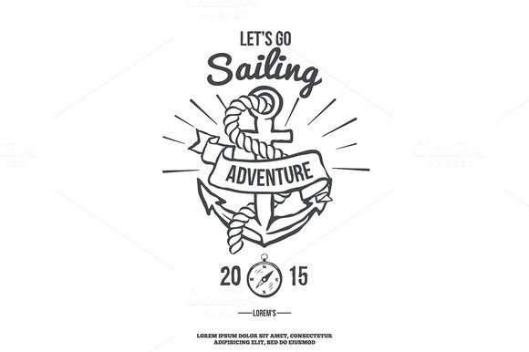 Lets Go Sailing Anchor With Banner