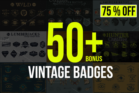50 Vintage Badges Bundle