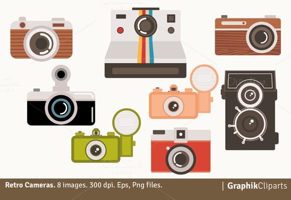 Retro Cameras Clipart