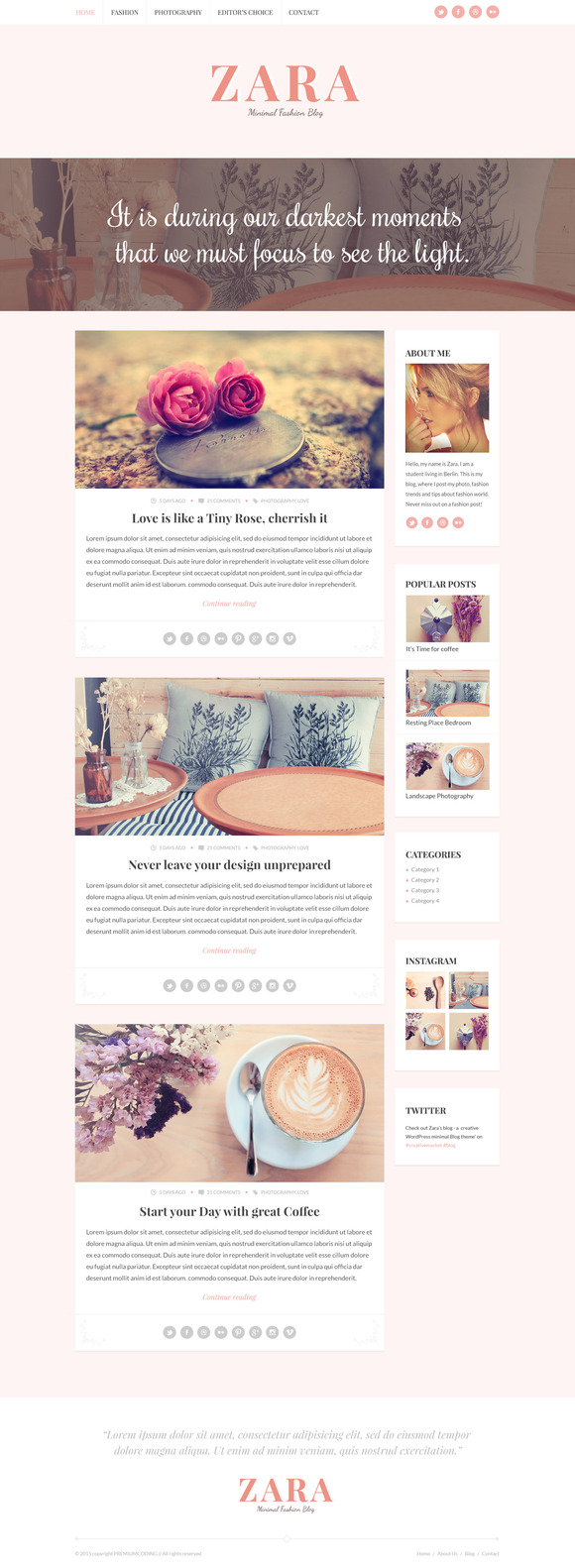 Zara Minimal Fashion Blog Template