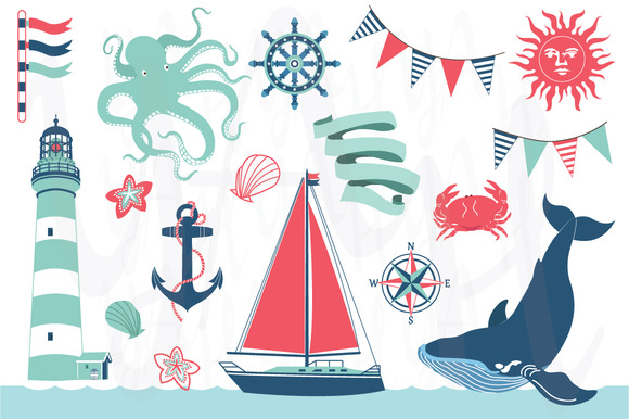 Nautical Sea Clip Art Set