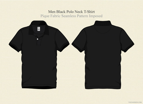 Men Black Polo Neck T-shirt