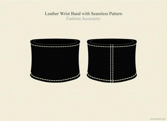 Black Leather Wrist Band Accessory
