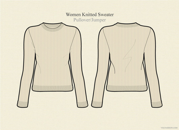 Women Knitted Sweater Vector