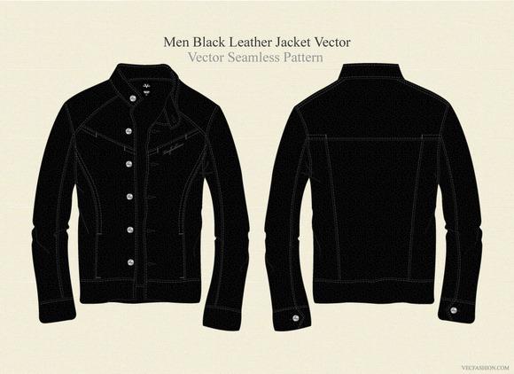 Men Black Leather Jacket Vector