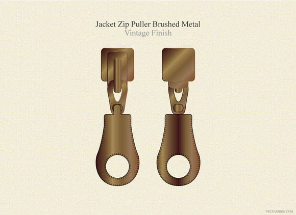 Jacket Zip Puller Brushed Metal