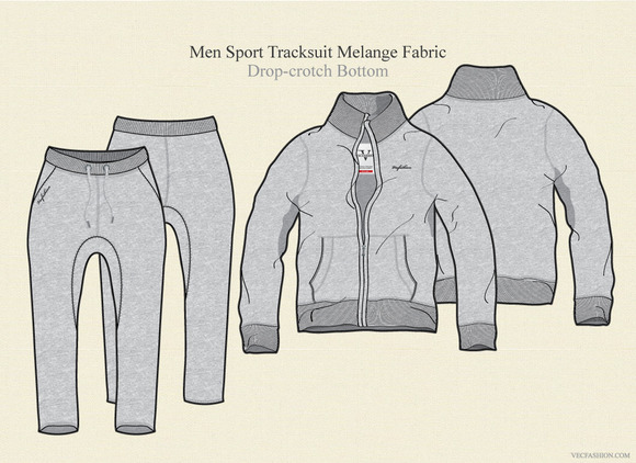 Men Sport Tracksuit Melange Fabric