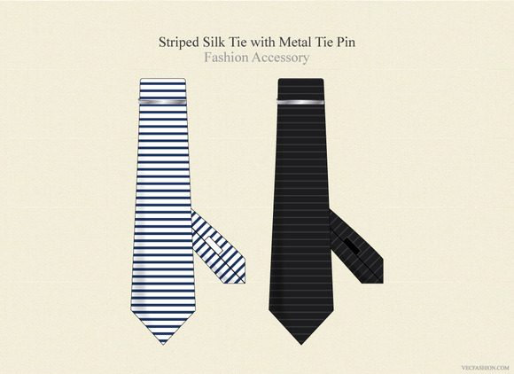 Striped Silk Tie With Metal Pin