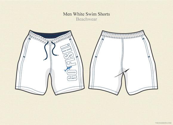 Men White Swim Shorts Beachwear