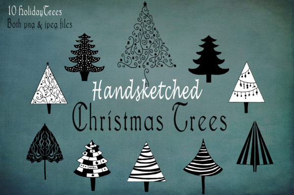 Handsketched Holiday Christmas Trees