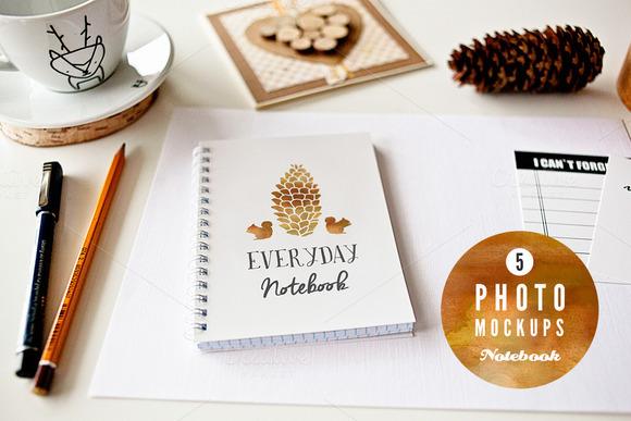5 Notebook Mockups