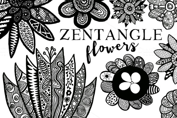 Zentangle Flower Illustrations